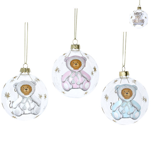 Baby Girl Clear Glass Bauble