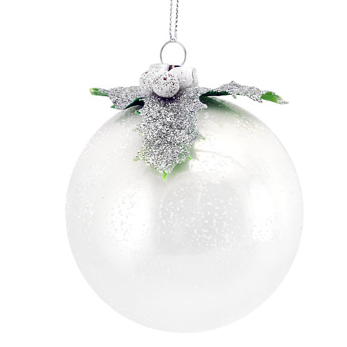 Frosted White Glass Ball with Silver Holly Top