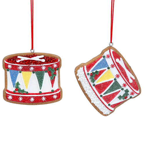 Resin Gingerbread Drum Decoration