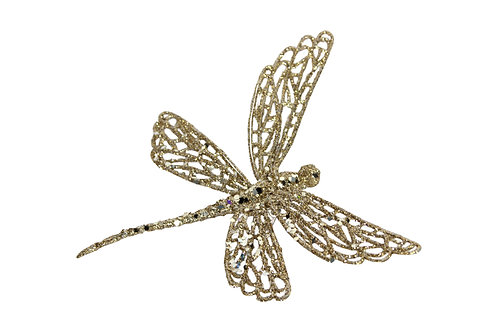 Gold Glitter Dragonfly Clip