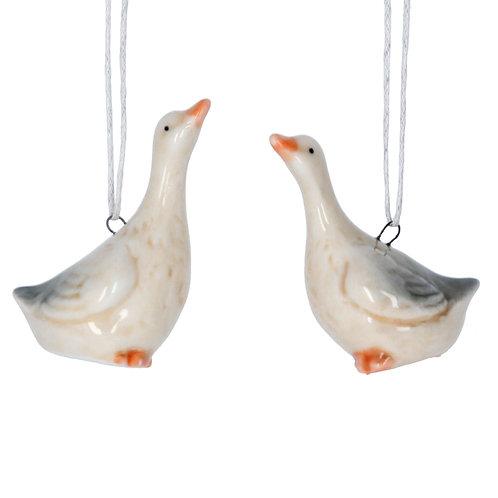 White Ceramic Goose Decoration