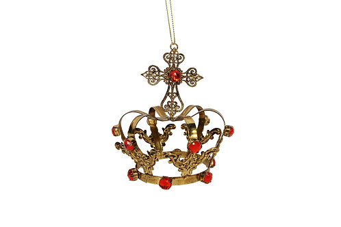 Gold Metal Crown with Red Jewels
