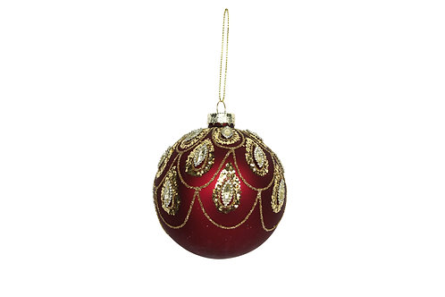 Matt Cherry Red Glass Bauble with Gold Swags