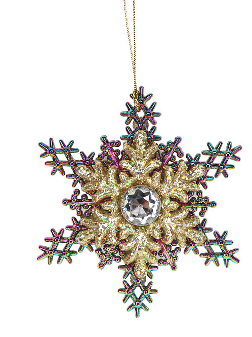 Multi coloured Peacock/Gold Glitter Snowflake with Jewel