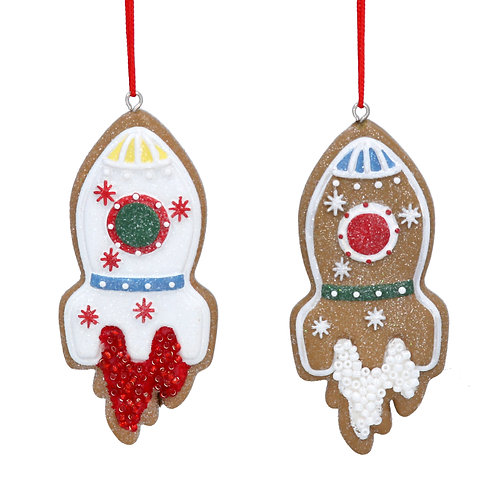 Resin Gingerbread Rocket Decoration