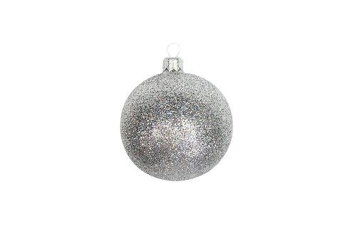 Silver Glass Glitter effect Bauble
