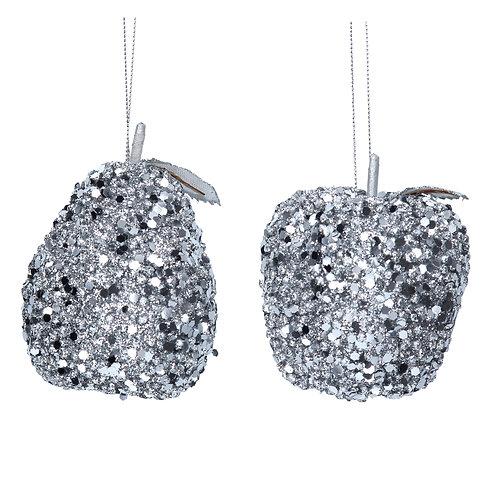 Silver Glitter Apple Dec
