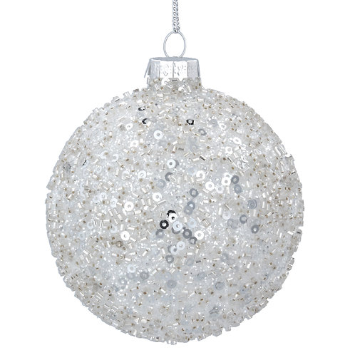 Crushed Clear Glass Ball with Silver Sequins
