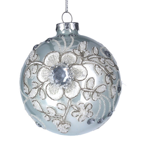 White Glass Bauble with  White/Silver Flowers