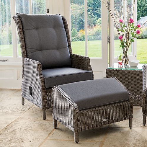 Kettler Classic Recliner and footstool in Rattan
