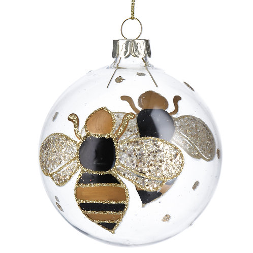 Clear Glass Black/Gold Bumble Bee