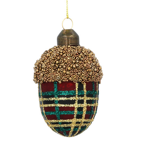 Tartan Glass Acorn Decoration