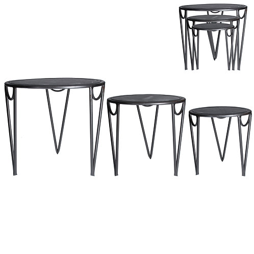 Galvanised Metal Nest of Tables Set of 3