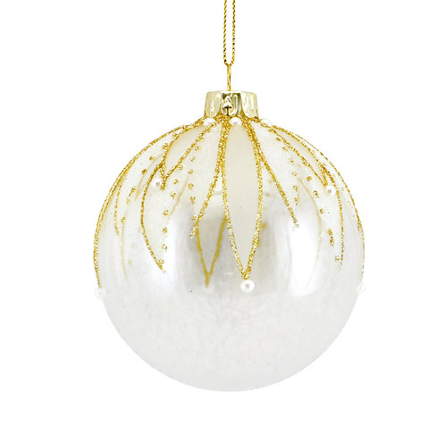 Clear Glass Ball with Gold Mesh Leaves