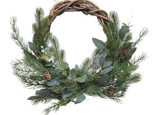 Deco Wreath leaves with pinecones