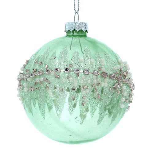 Pale Green Clear Glass Ball with Crushed Jewel Band