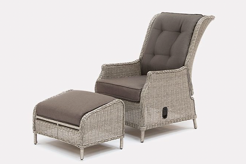 Kettler Classic Recliner and footstool in Whitewash