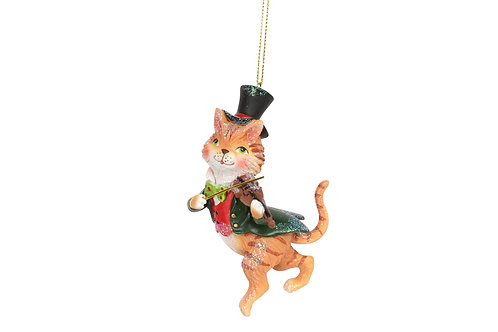 Gisela Graham Cat and the Fiddle Decoration