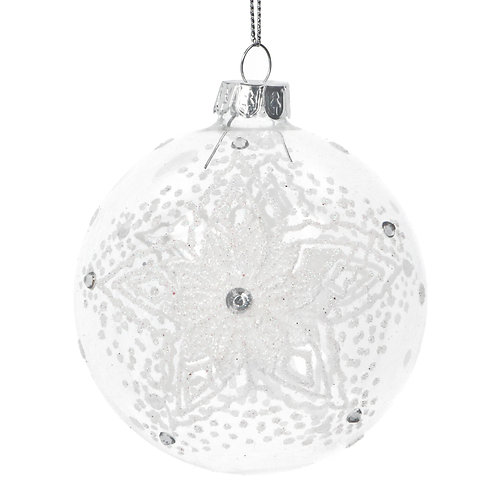 Clear Glass Bauble with white lace snowflake