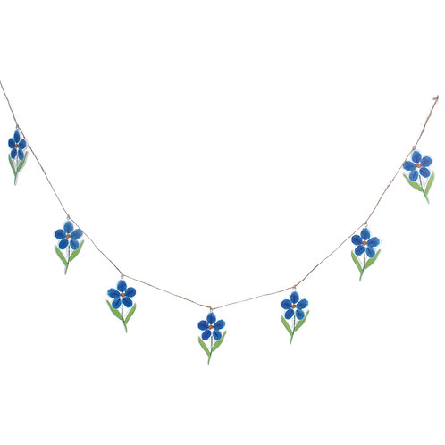 Forget-me-not Wood cut-out decorative garland