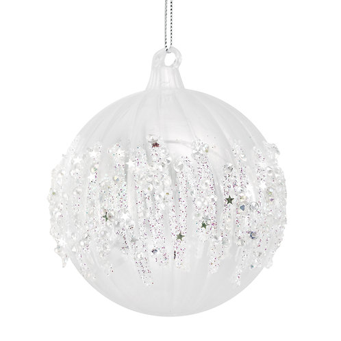 Clear Ribbed Ball with Glitter Icicle Band