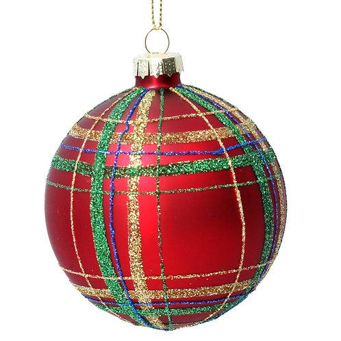 Red Tartan Glass Ball