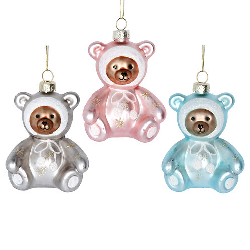 Baby Girl Glass Teddy Decoration