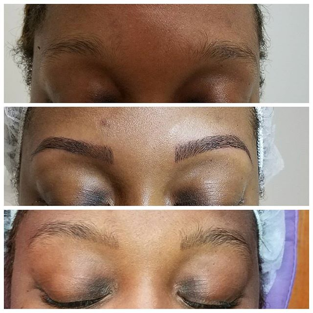 Some perfecting session work and eyebrow shaping  for your Saturday. Micriblading is meant to look l