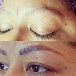 Old tattoo cover up! Instant eye lift! What a difference! Microblading is a perfect route for indivi