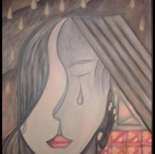 1 Tela - Adolescente  observando a chuva