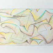 """""""Tangled Planes #1"""" 2017, Colored Pencil on Paper, 8.5""""x11"""""""