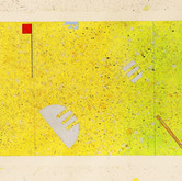 """Lyrical Constructivism #1"" 1980, Gouache, Ink, Pencil on Paper, 7""x20.5"""