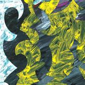 """Caution"" 2016, Acrylic on Paper, 8""x12.5"""