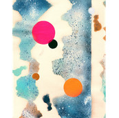 """""""Landscape with Dots #7"""" 1968, Spray Paint and Gouache on Paper, 7""""x20.5"""""""