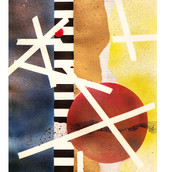 """Cris Cross"" 1968, Spray Paint and Gouache on Paper, 7""x20.5"""