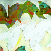 """Aurora Borealis"" 2016, Acrylic on Paper, 8""x12.5"""