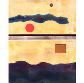 """""""Landscape with Dots #10"""" 1968, Spray Paint and Gouache on Paper, 7""""x20.5"""""""