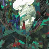 """""""Underwater Phoenix"""" 2016, Acrylic on Paper, 11""""x17"""""""