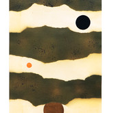 """Landscape with Dots #3"" 1968, Spray Paint and Gouache on Paper, 7""x20.5"""