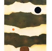 """""""Landscape with Dots #3"""" 1968, Spray Paint and Gouache on Paper, 7""""x20.5"""""""