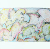 """""""Tangled Planes #2"""" 2017, Colored Pencil on Paper, 8.5""""x11"""""""