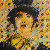 """Leland's Mime"" 1974, Block Print with Pastel, 18""x24"""""