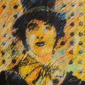 """Leland's Mime"" 1974, Block Print with Pastel, 18""x24"""""