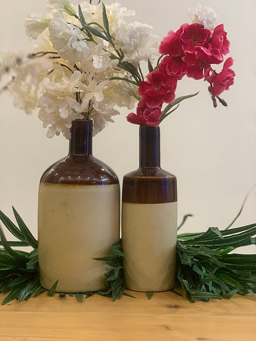 Creamy brown pottery S/2