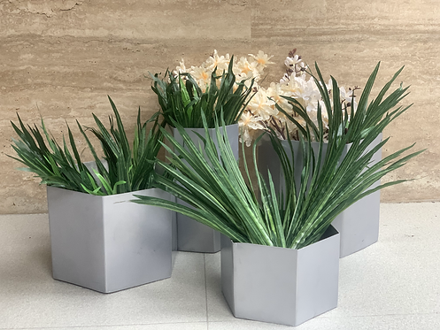 Metal planters silver S/4