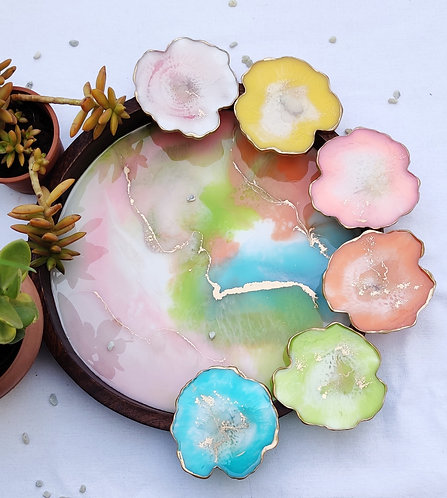 Summer resin tray and coasters S/6