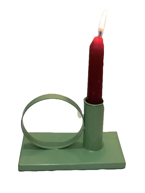 Mint metallic candleholder