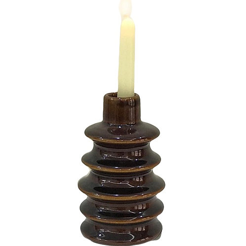Brown rounds ceramic candleholder