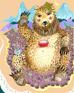 bear having morning porridge