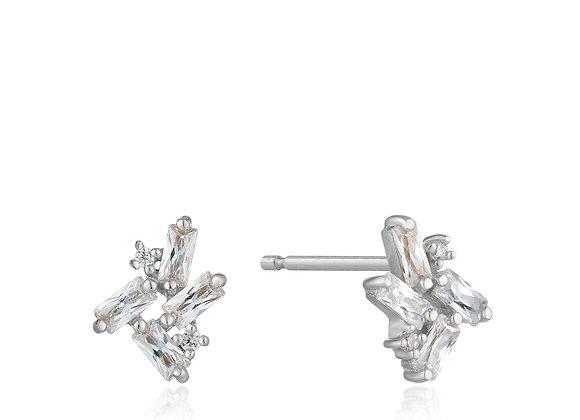 Silver Cluster Stud Earrings
